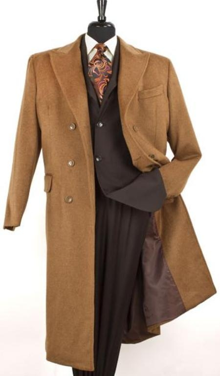 SKU#MQ7100 Mens 48 Inch double breasted Long Wool Blend Fashion Top Coat Chestnut camel bronz $175