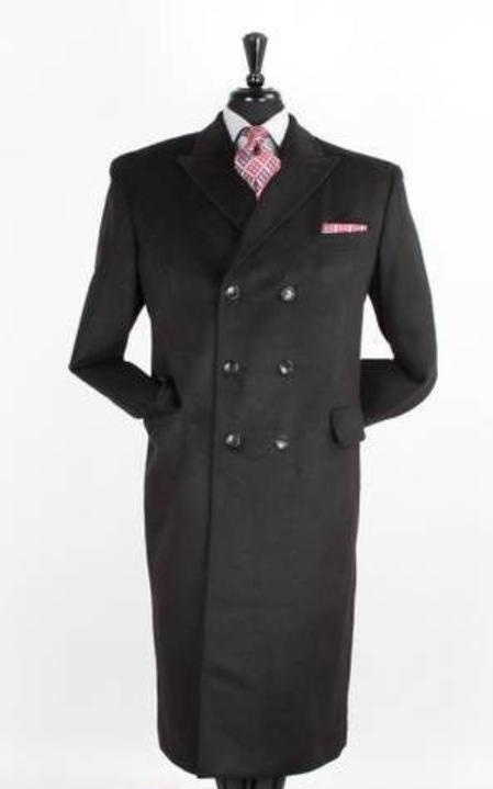 SKU#JR5980 Mens 48 Inch Long Wool Blend Double breasted Peacoat Full Length Top Coat Black
