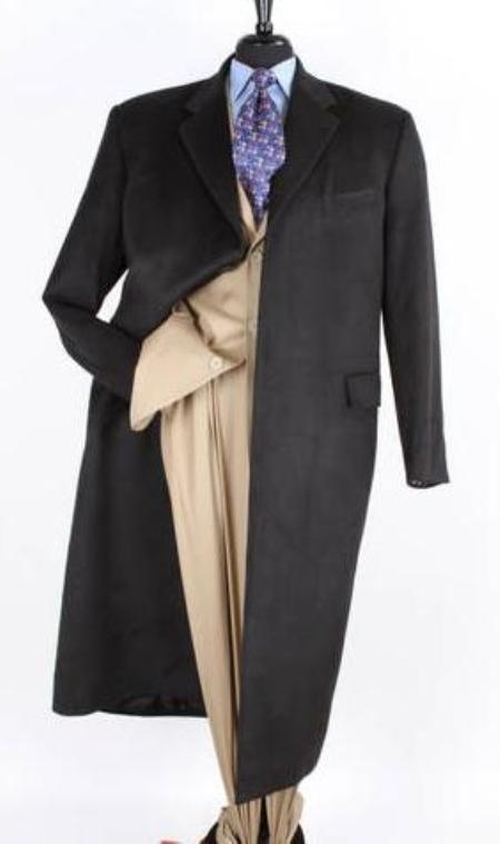 SKU#FP5617 Mens 51 Inch Long Wool Blend Fashion Top Coat in Cashmere Black $189