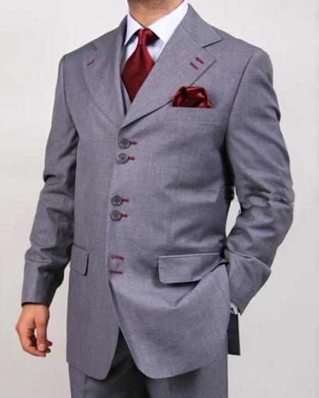 SKU#LV3490 Mens 6 Button Grey Texture Vested Unique Exclusive Fashion Suit $225
