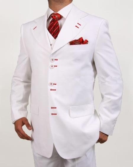 SKU#RB5489 Mens 6 Button White Vested Suit $225