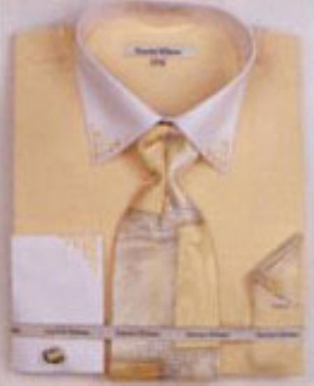 SKU#QV6822 Mens Banana French Cuff Shirts with Cuff Links $65
