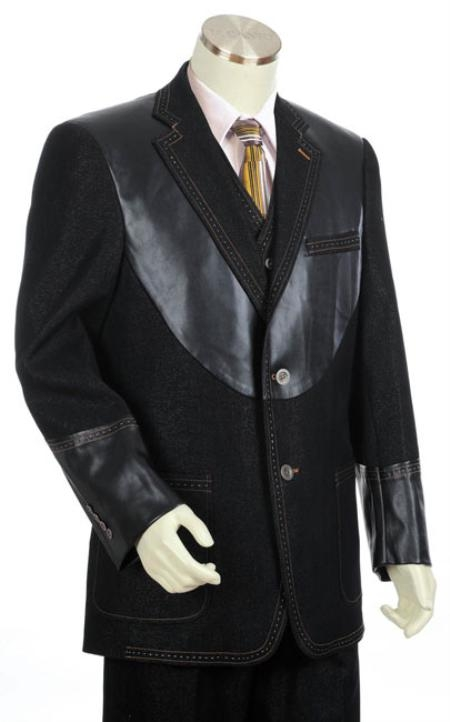 SKU#LZ2033 Mens Black 2 Button 3pc Fashion Denim Cotton Fabric Trimmed Two Tone Blazer/Suit/Tuxedo