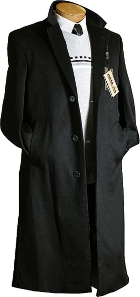 SKU#BJ7822 Mens Black Cashmere Wool  / Overcoat $199