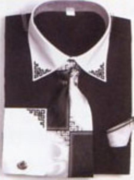 SKU#CX1324 Mens Black French Cuff Shirts with Cuff Links $65
