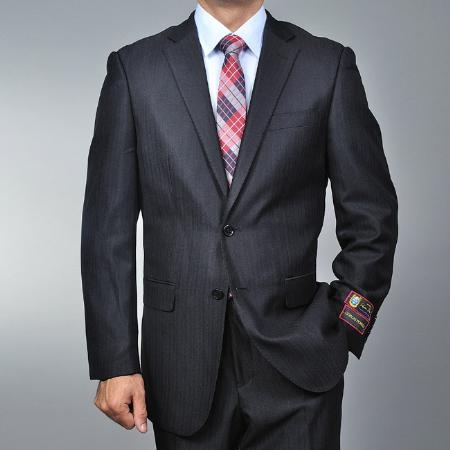 SKU#DC1485 Mens Black Herringbone 2-button Suit $139