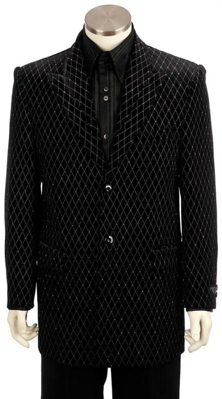 SKU#WR6292 Mens Black Long Zoot Suit $225