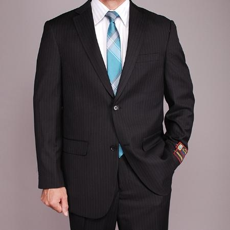 SKU#JK9885 Mens Black Pinstripe 2-button Suit