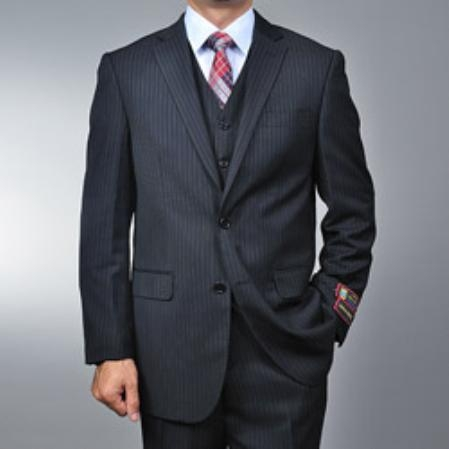 SKU#RR5698 Mens Black Pinstripe 2-button Vested three piece suit $155