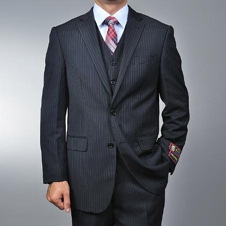 SKU#FR6699 Men's Black Pinstripe 2-button Vested Suit