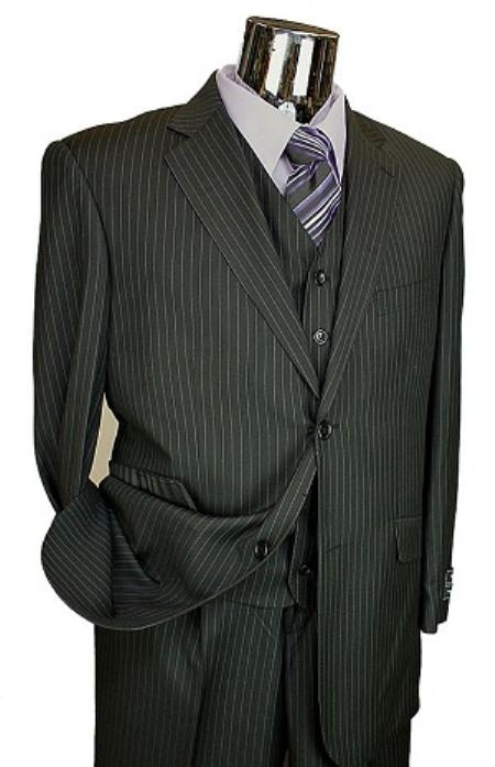 SKU#LQ4510 Mens Black Pinstripe 3pc 2 Button Italian Designer Suit Black $189