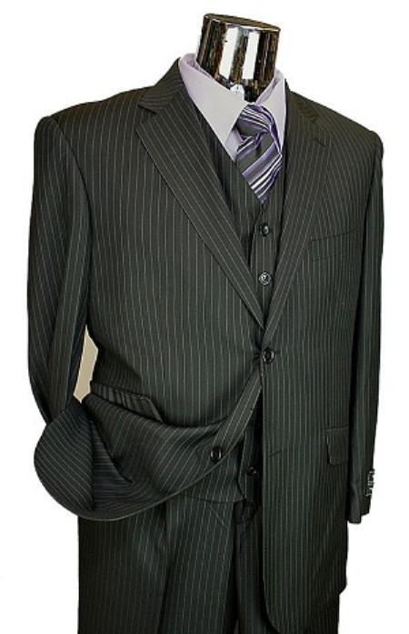 SKU#LQ4510 Mens Black Pinstripe 3pc 2 Button Italian Designer Suit Black