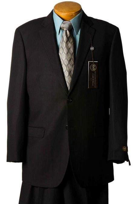 SKU#YQ8945 Suit Separate Mens Black Pinstripe Italian Designer Suit Black