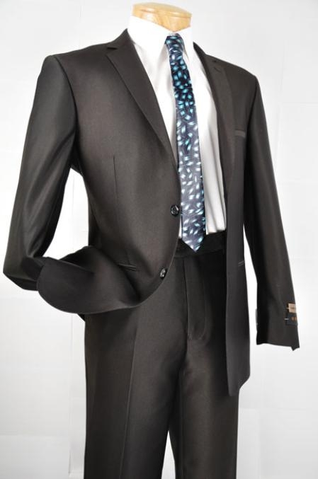 SKU#MW7802 Mens Black Single Breasted 2 Button Slim Fit Suit