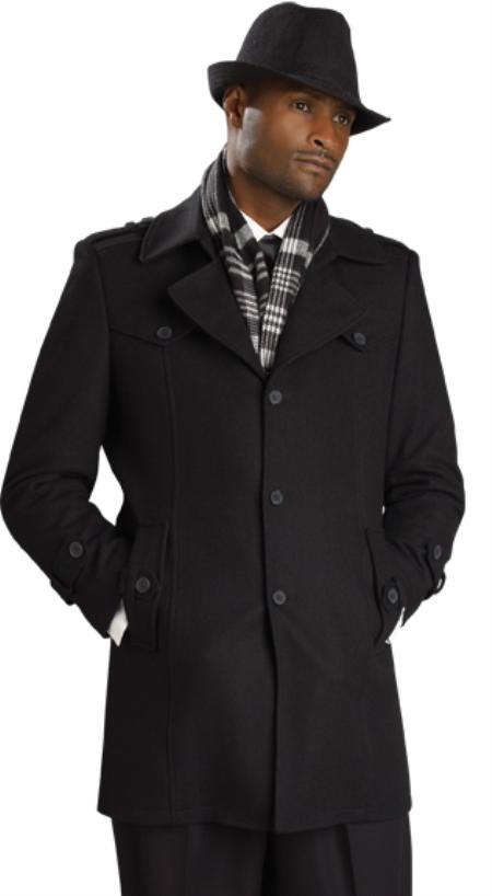 SKU#IK6432 Mens Black Stylish Overcoat $125