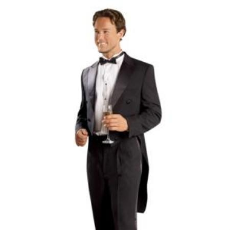 SKU#JM2828 Mens Black Tailcoat with Matching Formal Trousers