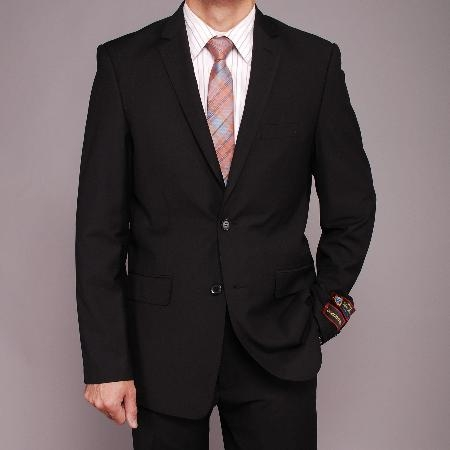 SKU#HY5896 Mens Black Textured 2-button Slim-fit Suit $139