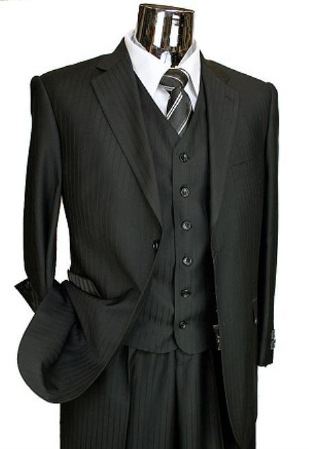 SKU#TY6011 Mens Black Tone on Tone 3pc 2 Button Italian Designer Suit Black