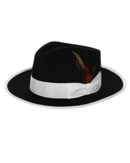 SKU#JN7222 Mens Black & White Fedora Hat