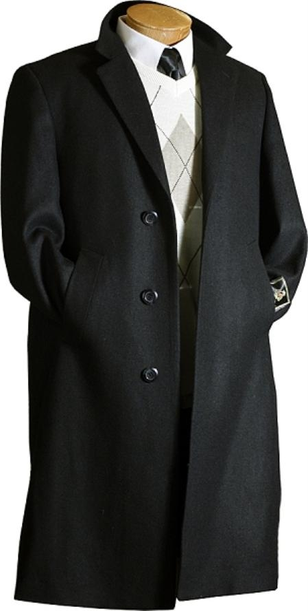 SKU#HK6281 Mens Black Wool / Overcoat