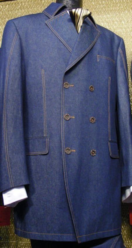SKU#XD3892 Mens Blue 3 Piece Denim Cotton Fabric  Suit $189