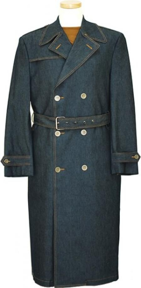 IL_8333 Mens Blue Denim double breasted Long Trench Coat $175