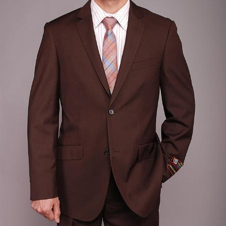 SKU#TD9494 Mens European Skinny Notch Lapel No Pleated Pants Brown 2-button Slim-fit Suit
