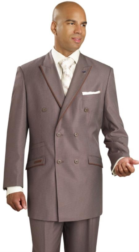 SKU#YZ4343 Mens Brown Double Breasted Suit $139