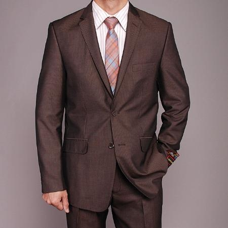 SKU#FD5656 Mens European Skinny Notch Lapel No Pleated Pants Brown Micro-Stripe ~ Pinstripe 2-button Slim-fit Suit