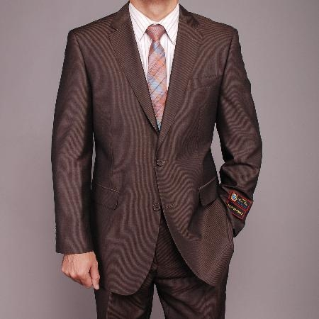 SKU#DF5560 Mens Brown Micro-stripe 2-button Suit $149
