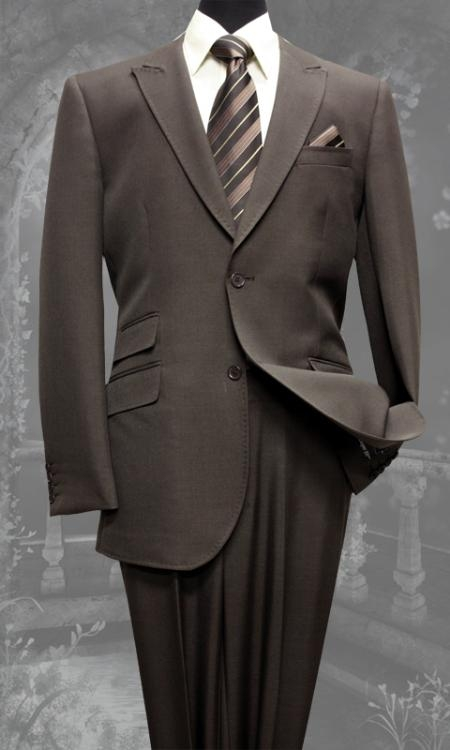 SKU#KW5632 Mens Brown Slim Fit Super 150s 2 Piece Ticket Pocket Peak Lapel Super Fine Wool Feel Poly~Rayon Suit $149