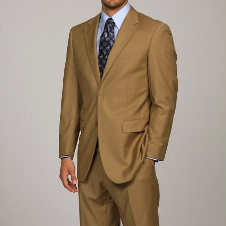 SKU#DA1113 Men's Camel ~ Khaki 2-button Suit