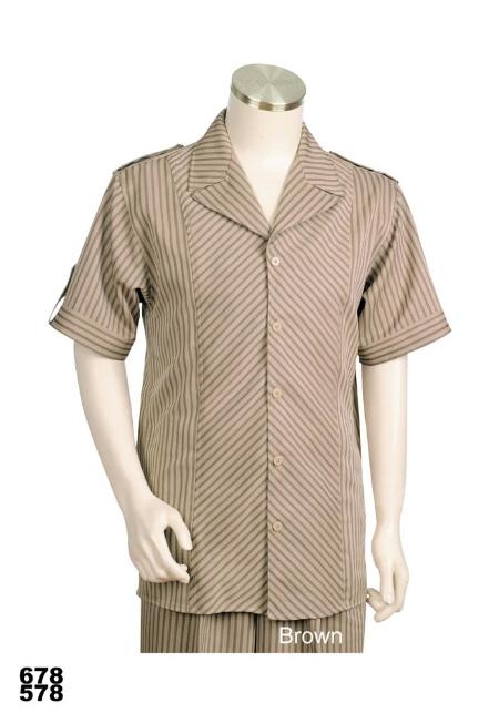 SKU#WV4333 Mens Casual Walking Suit Set (Shirt & Pants Included) Brown $89