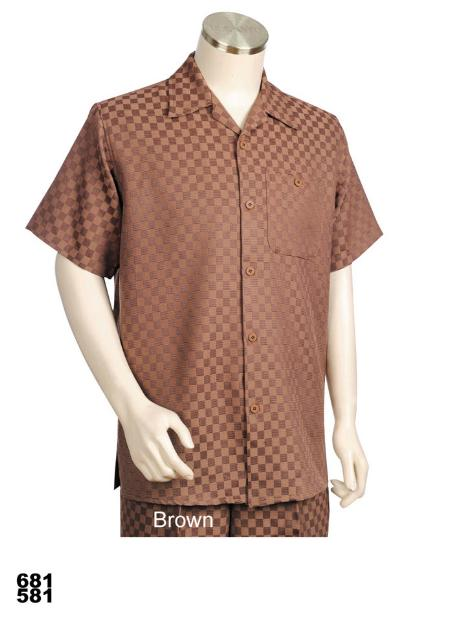 SKU#QZ7891 Mens Casual Walking Suit Set (Shirt & Pants Included) Brown $89