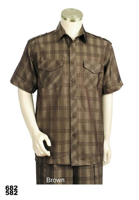 SKU#ZX4343 Mens Casual Walking Suit Set (Shirt & Pants Included) Brown $89