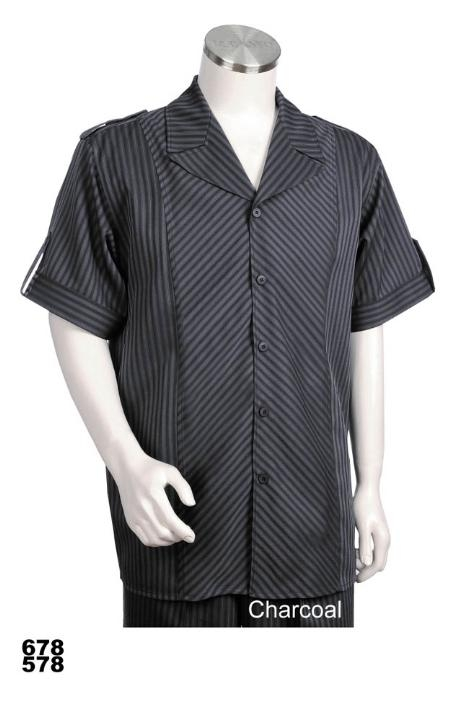 SKU#MW9022 Mens Casual Walking Suit Set (Shirt & Pants Included) Charcoal $89