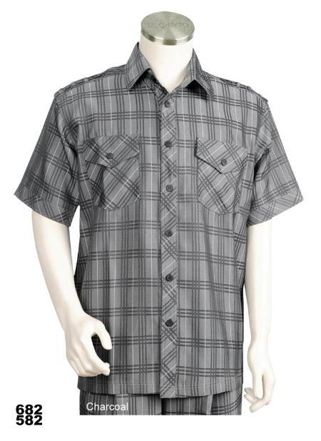 SKU#SA3277 Mens Casual Walking Suit Set (Shirt & Pants Included) Charcoal