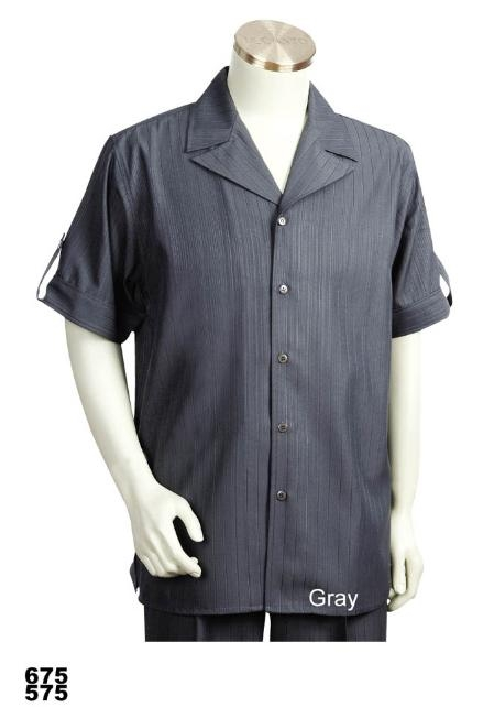 SKU#VD1335 Mens Casual Walking Suit Set (Shirt & Pants Included) Grey