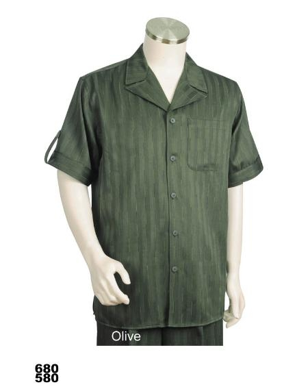 SKU#ZP7822 Mens Casual Walking Suit Set (Shirt & Pants Included) Olive $89