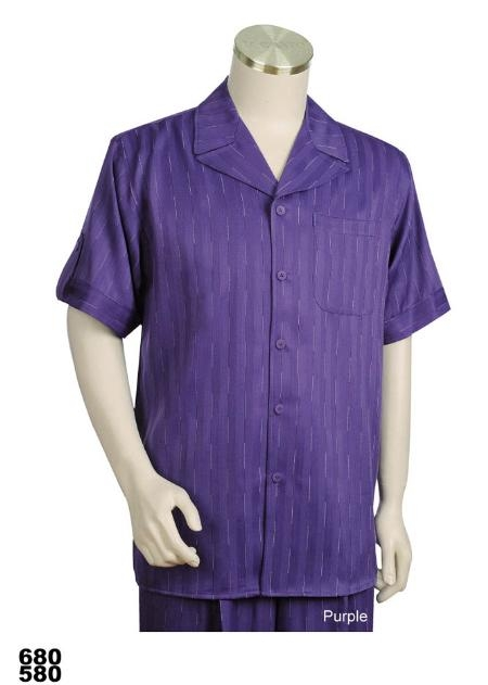 SKU#PM7922 Mens Casual Walking Suit Set (Shirt & Pants Included) Purple $79