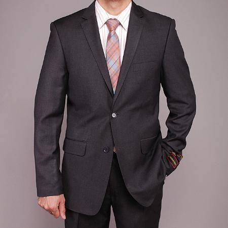 SKU#NM2316 Mens Charcoal Gray 2-button Slim-fit Suit