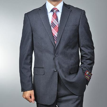 SKU#JL5896 Mens Charcoal Grey 2-button Suit