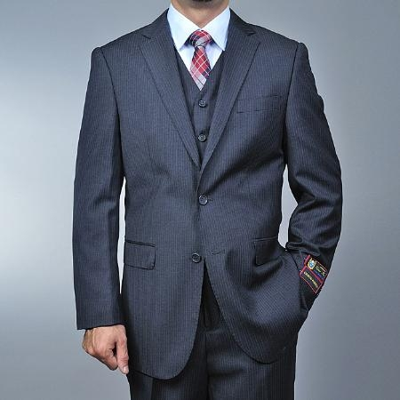SKU#RD6663 Mens Charcoal Grey 2-button Vested three piece suit $185