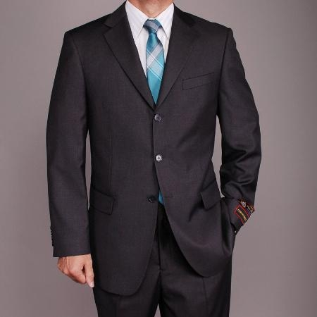 SKU#GJ2859 Mens Charcoal Grey 3 buttons Suit