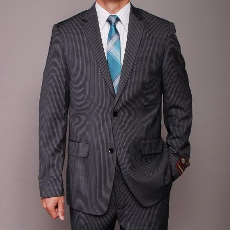 SKU#SC2589 Mens Charcoal Pinstripe 2-button Slim-fit Suit $139