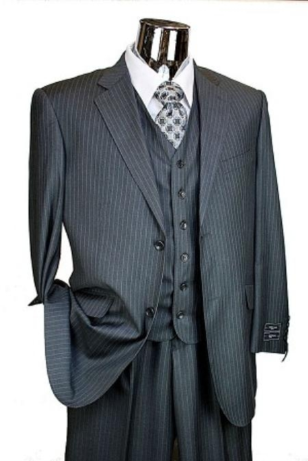 SKU#JR7834 Mens Charcoal Pinstripe 3pc 2 Button Italian Designer Suit Charcoal