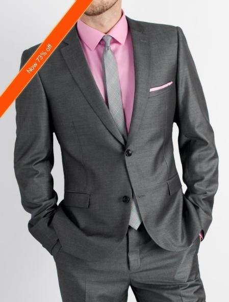 SKU#LA2038 Men's Charcoal Slim Fit Suit