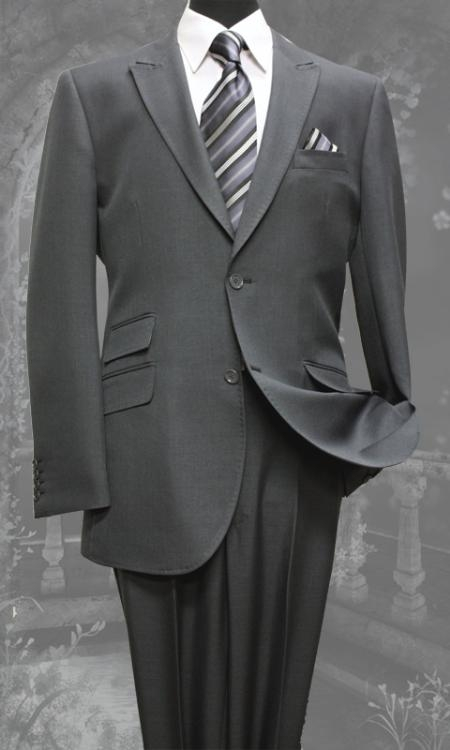 SKU#YR8745 Mens Charcoal Slim Fit Super 150s 2 Piece Ticket Pocket Peak Lapel Super Fine Wool Feel Poly~Rayon Suit $149