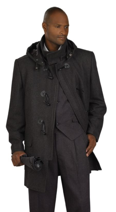 SKU#UH2002 Mens Charcoal Stylish Overcoat