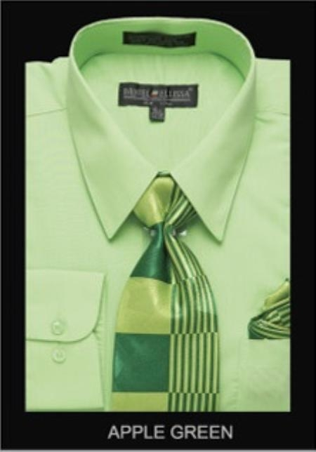 SKU#GA5911 Mens Classic Dress Shirt Apple Green $55